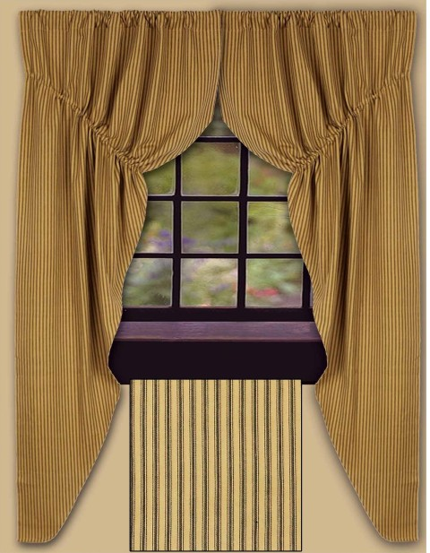York Ticking Prairie Curtain Final Sale