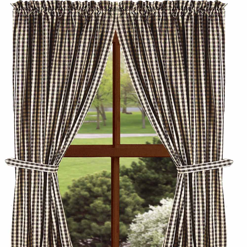 Heritage House Check Curtain Collection Black