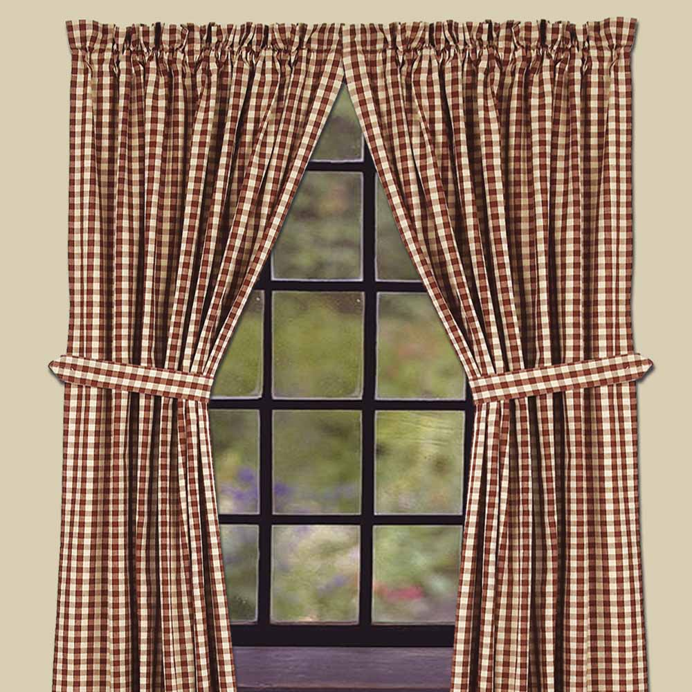 Heritage House Check Curtain Collection Barn Red