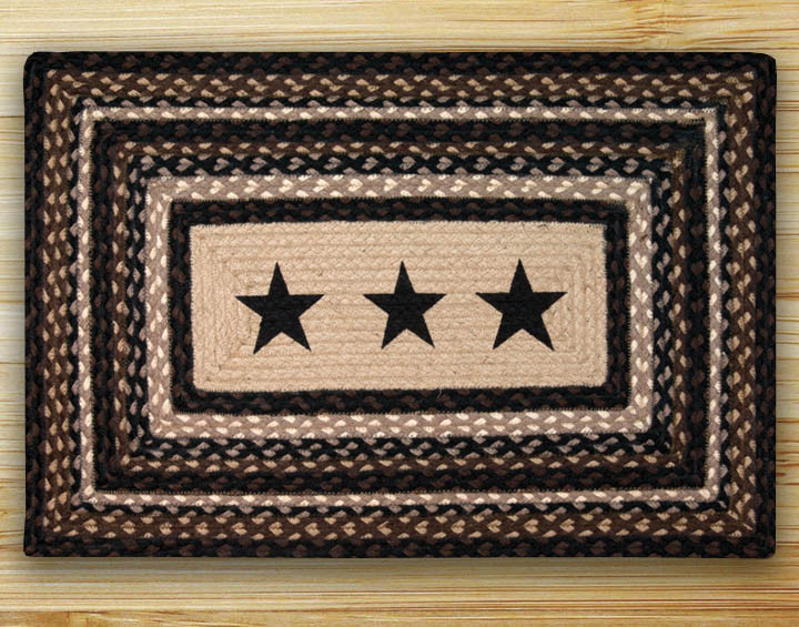 Black Stars Braided Rug