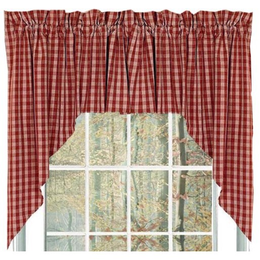 Heritage House Check Curtain Collection, Barn Red