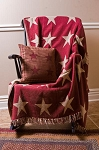 Burgundy Star Woven Throw