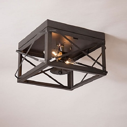 Double Ceiling Light with Folded Bars
