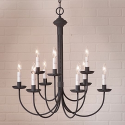 Grandview Nine-Arm Chandelier with Gray Sleeves