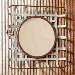 Metal Tobacco Basket Wall Mirror