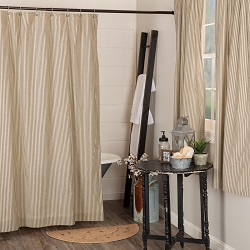 Sawyer Mill Charcoal Ticking Shower Curtain