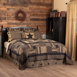 Black Check Star Quilted Bedding