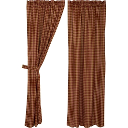Burgundy Check Curtain Collection