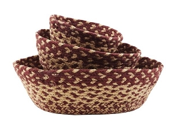 Burgundy/Tan Jute Bowl Set