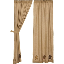 Stratton Burlap Applique Star Curtain Collection