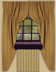 York Ticking Prairie Curtain, Black (final sale)