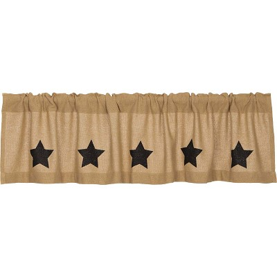 Burlap Black Stencil Star Curtain Collection