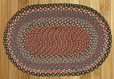 Burgundy/Blue/Gray Braided Rug