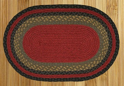 Burgundy/Olive/Charcoal Braided Rug
